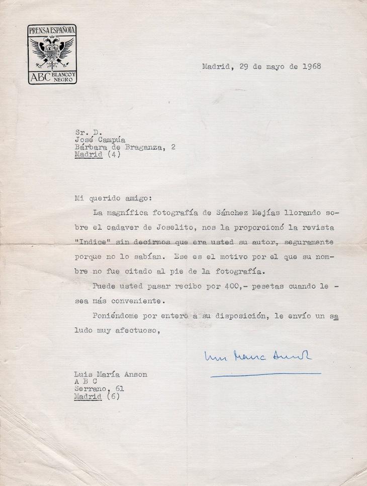 """El director de ABC se disculpa por haber publicado sin firmar la foto de Ignacio Sánchez-Mejías y Joselito, realizada por José Demaría Vázquez """"Campúa"""" en 1920."""