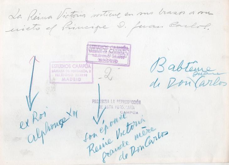 Reverso foto bautizo Rey Juan Carlos I