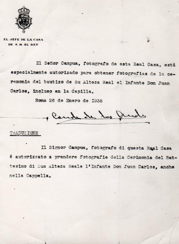 Autorización recibida por Campúa por la Casa de S.M. el Rey para fotografiar el bautizo de Juan Carlos I