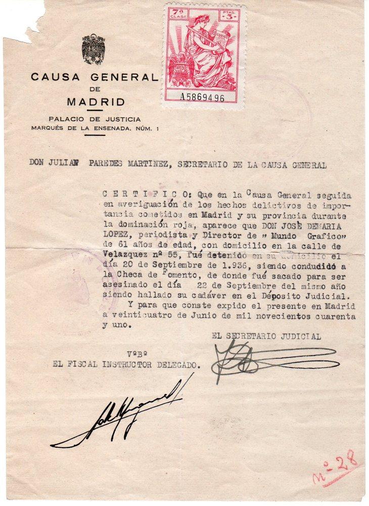 """Certificado de la Causa General de Madrid fechado en 1941 sobre las circunstancias de la muerte de José L. Demaría López """"Campúa"""""""