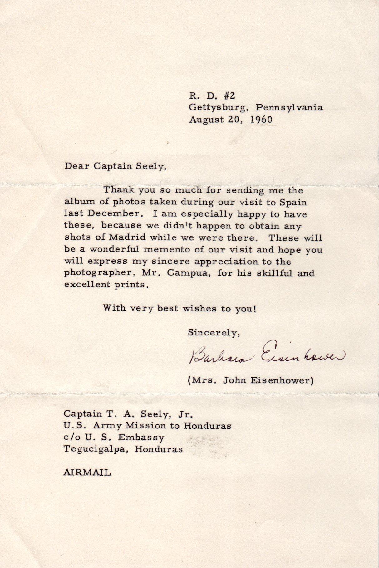 Nota de agradecimiento de Barbara Eisenhower por el reportaje fotográfico realizado por Campúa durante su visita a España.