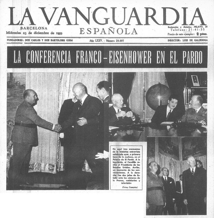 Primera página del especial gráfico de La Vanguardia el 23 de diciembre de 1959 sobre la visita de Eisenhower, con fotos de Campúa