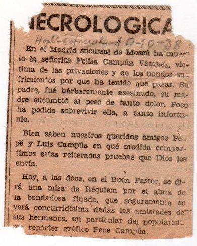 Necrológica de Felisa Demaría Vázquez, hermana del fotógrafo Pepe Campúa