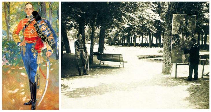 """Campua padre retrató en 1907 a Sorolla mientras retrataba a Alfonso XIII con uniforme de húsar. A la izquierda el cuadro de Sorolla y a la derecha la fotografía de José L. Demaría López """"Campúa"""""""