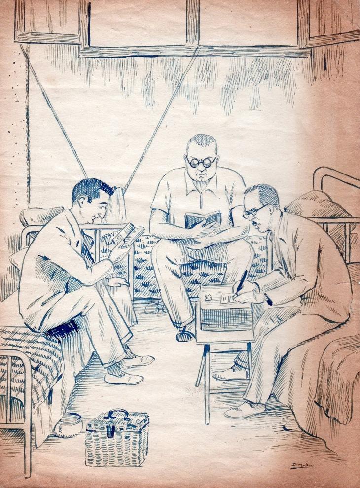 Caricatura de Campúa y otros dos compañeros realizada por D. Mullor