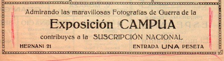 Anuncio de la exposición de Campúa en San Sebastián publicado en el Programa Oficial de Espectáculos el 4 de enero de 1939