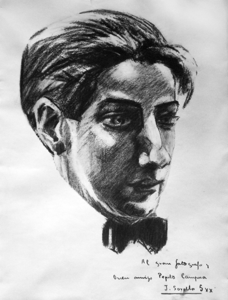 """Reproducción de un retrato a carboncillo de José Demaría Vázquez """"Campúa"""" atribuido al hijo de Joaquín Sorolla."""
