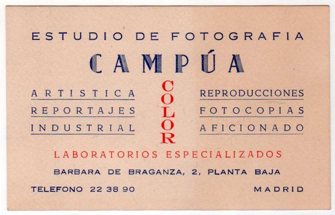 Tarjeta del estudio de Campúa en Bárbara de Braganza, impresa probablemente en los años 50