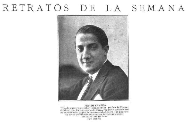 Noticia de la recuperación de la salud de Pepe Campúa y su vuelta a Madrid, publicada en Mundo Gráfico el 27 de junio de 1923