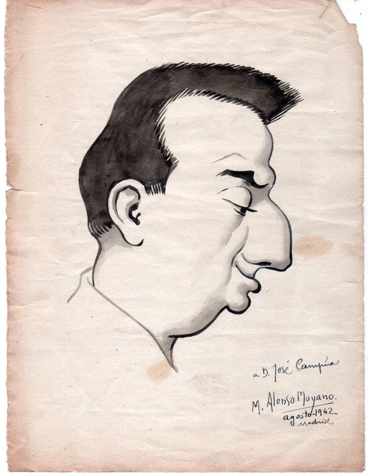 Caricatura de Campúa, fechada en agosto de 1042, realizada por Manuel Alonso Moyano