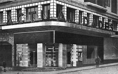 Exterior del cine Actualidades en 1933Fotografía sin autor reconocido extraída del número 5 (1933) de la revista Arquitectura, procedente de la Hemeroteca Municipal de Madrid.