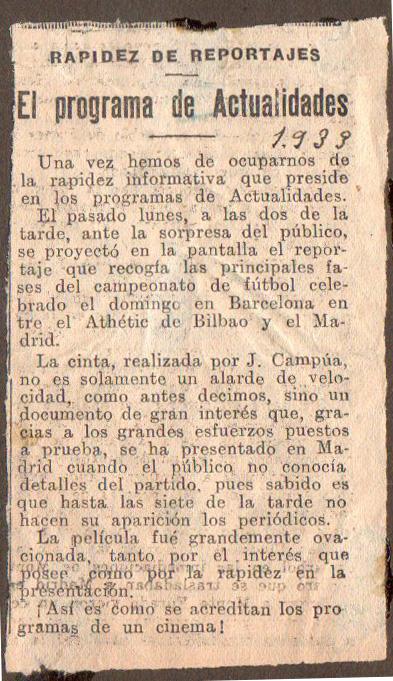 """Reseña sobre el programa del cine """"Actualidades"""" en 1933, que destaca la labor de Pepe Campúa como pionero del uso de la imagen en movimiento en el reporterismo deportivo."""