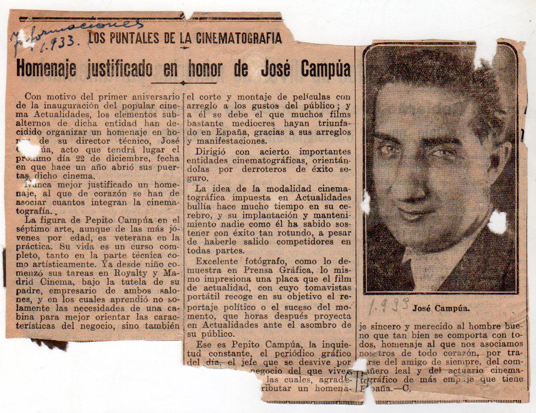 Crónica del homenaje a Pepe Campúa como empresario cinematográfico.