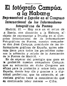 Artículo publicado en La Vanguardia el 18 de noviembre de 1954 dando noticia del viaje de Campúa a Cuba.