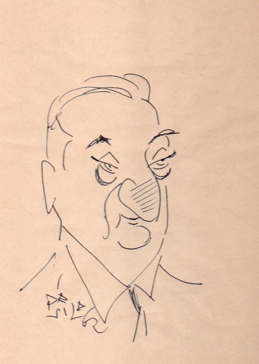 Dibujo original de Dávila en el que retrata al fotógrafo Pepe Campúa