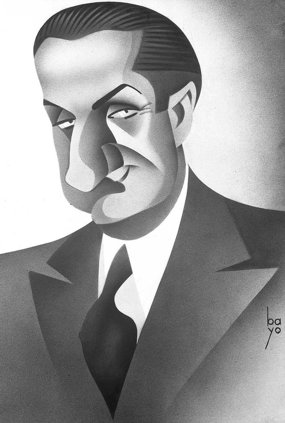 """José Demaría Vázquez """"Campúa"""" retratado en los años 30 por el dibujante Manuel Bayo Marín"""