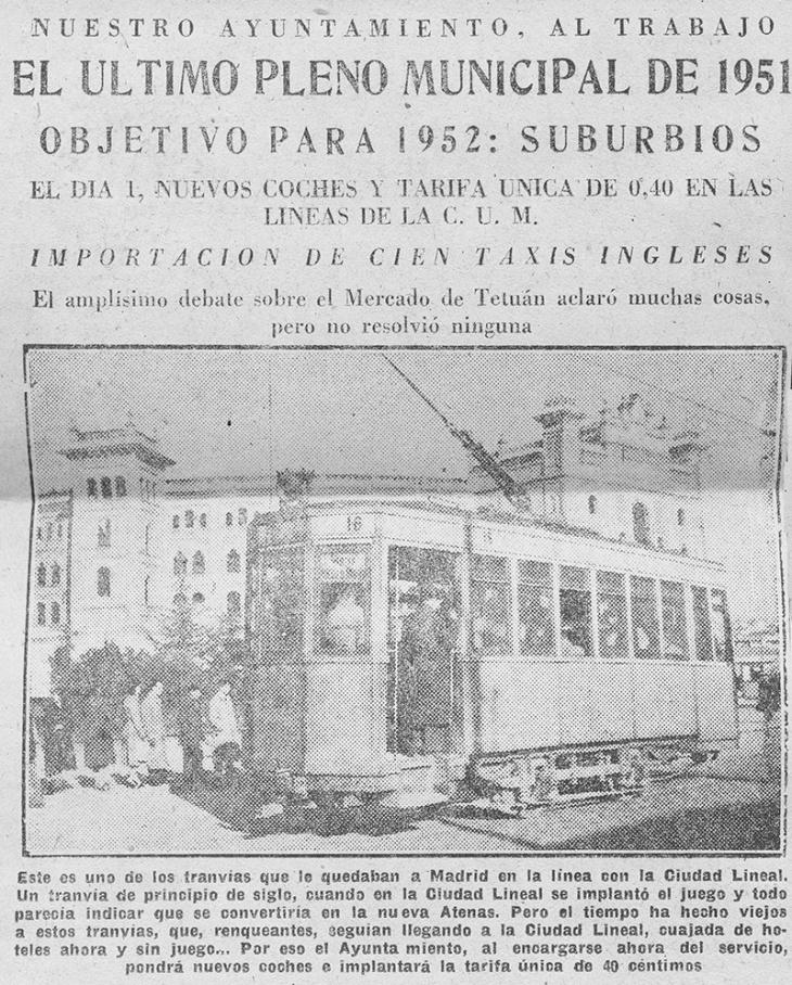 Noticia de la inauguración del tranvía Ventas-Pueblo Nuevo, publicada en Informaciones en diciembre de 1951 con fotografía de Campúa