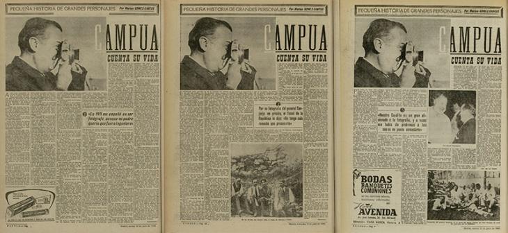 Serie de tras artículos de Marino Gómez-Santos sobre la vida de Campúa, con fotografía de Joana Biarnés