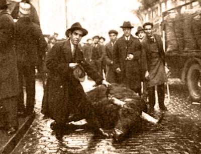"""Fotografía publicada en Nuevo Mundo con el pie: """"El toro que, con exposición de la vida, mató Fortuna, evitando con ello una verdadera catástrofe"""""""