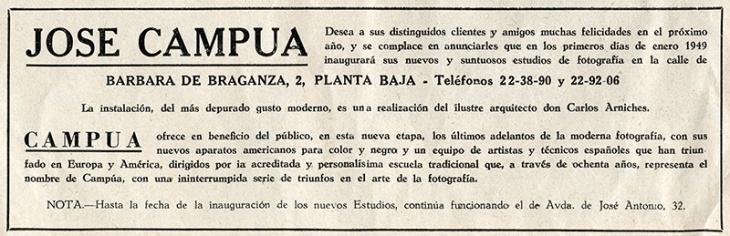 Anuncio de la apertura del nuevo estudio fotográfico publicado en la revista Luna y Sol de diciembre de 1948