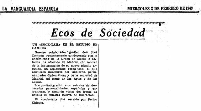Reseña de la inauguración del nuevo estudio de Campúa, publicada en La Vanguardia el 2 de febrero de 1949 (el mismo día en que se celebró, lo cual puede hacer dudar de la fecha exacta o de si la noticia se publicó antes de que se produjera el acto)