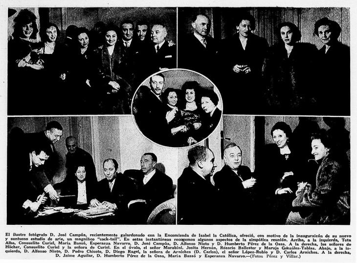 Crónica fotográfica publicada en Luna y Sol en marzo de 1949 en la que figuran las personalidades que acudieron a la inauguración del nuevo estudio de Campúa