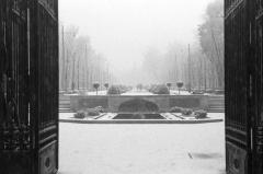 El parque de El Retiro nevado, fotografiado por Campúa en enero de 1952