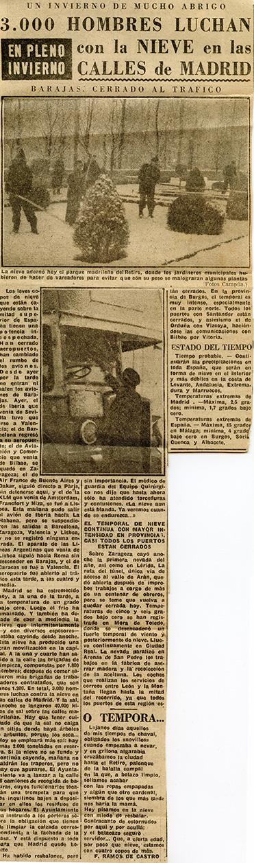 Fotografía publicada en el diario Informaciones en la crónica de la nevada en Madrid, que reseñaba cómo los jardineros municipales hubieron de hacer de vareadores para evitar que con su peso se malograran algunas plantas.
