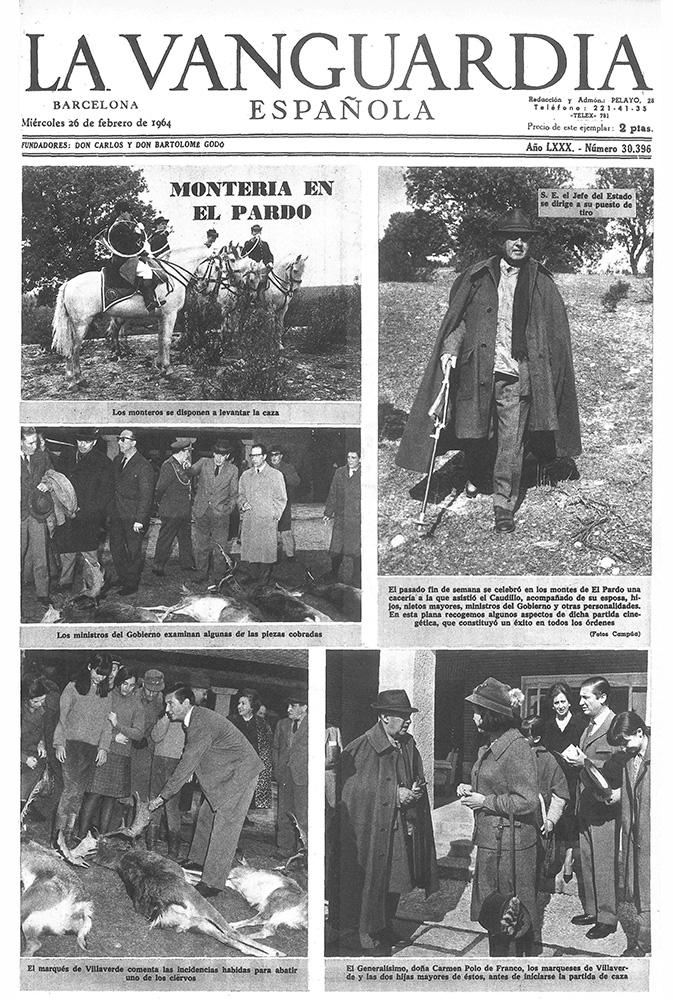Portada de La Vanguardia del 26 de febrero de 1964 con fotos de Campúa de la cacería celebrada días antes en El Pardo