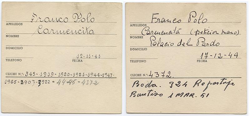Fichas del archivo Campúa correspondientes a Carmencita Franco Polo