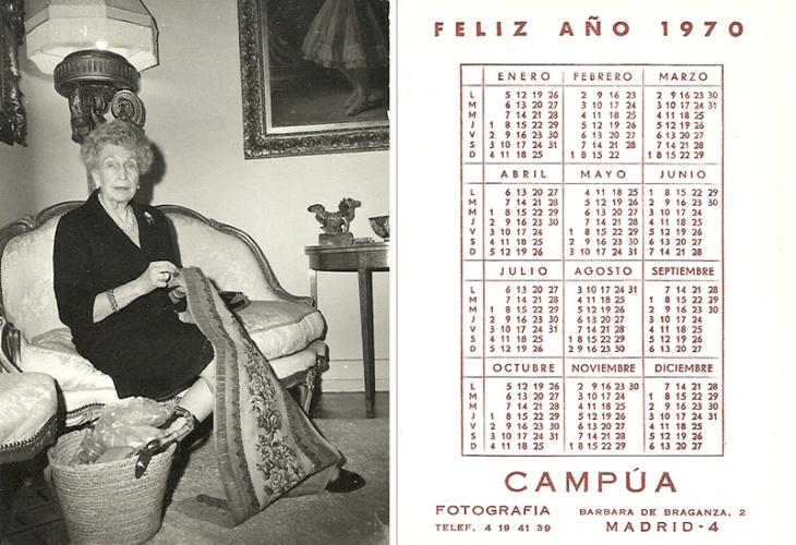 Calendario de 1970 del Estudio Campúa dedicado a la reina Victoria Eugenia, fallecida el año anterior