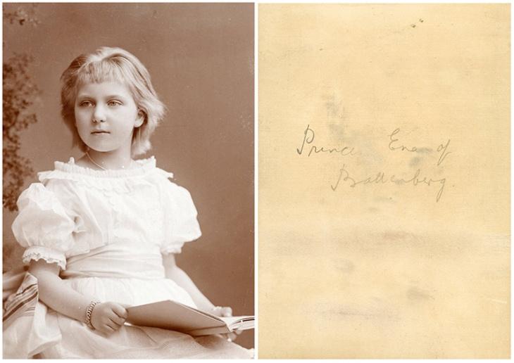 Copia en cartón fotográfico de un retrato de Victoria Eugenia de Battenberg niña, realizada por un  fotógrafo no identificado. La foto se conserva entre los objetos personales de Campúa