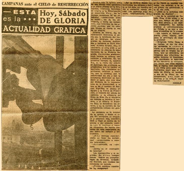 Artículo publicado en Informaciones el 10 de abril de 1952 con foto de Campúa