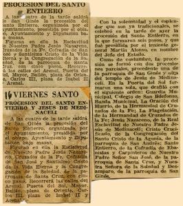 Artículo publicado el 16 de abril en el diario Informaciones que Pepe Campúa guardaba junto con uno de sus reportajes de Semana Santa