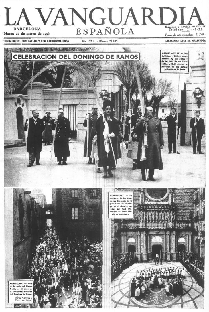 Portada de La Vanguardia el 27 de marzo 1956 que informa de la celebración del domingo de ramos en el Palacio del Pardo con foto de Campúa