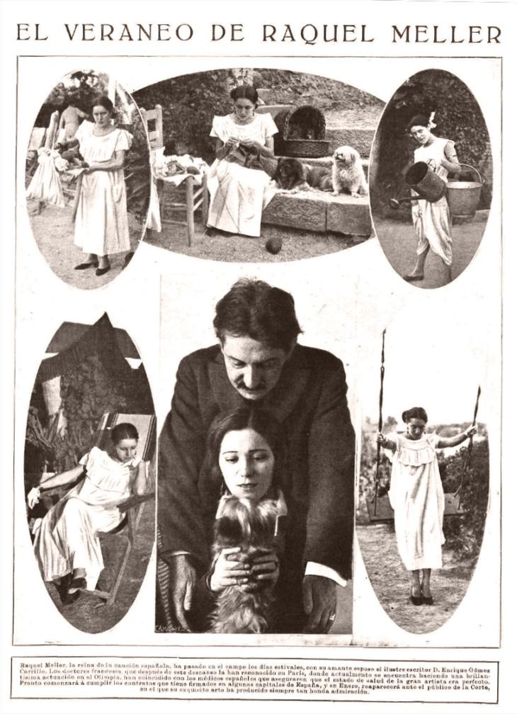"""Reportaje """"El veraneo de Raquel Meller"""" publicado en Mundo Gráfico. El pie de foto señala que la reina de la canción española había pasado en el campo los días estivales junto con su esposo el escritor Enrique Gómez Carrillo."""