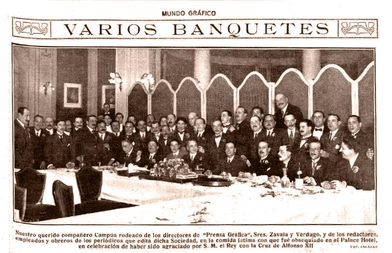 Fotonoticia del banquete íntimo en honor a Campúa publicada en Mundo Gráfico el 4 de abril de 1917