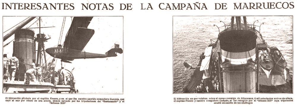 """Fragmento de la página de Mundo Gráfico del 17 de mayo de 1922 en el que bajo el título """"Interesantes notas de la campaña de Marruecos"""" se daba noticia, entre otros hechos, del accidente de Campúa y Ramón Franco."""