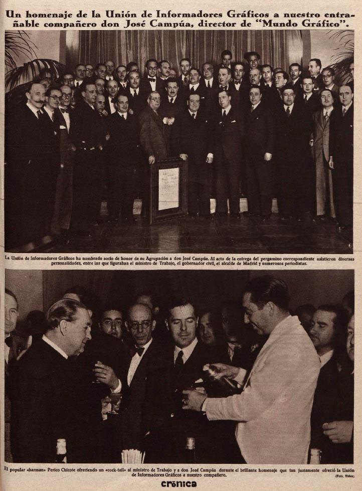 Fotonoticia publicada en la revista Crónica el 26 de mayo de 1935 dando cuenta del homenaje a Campúa y del posterior cocktail ofrecido por Perico Chicote