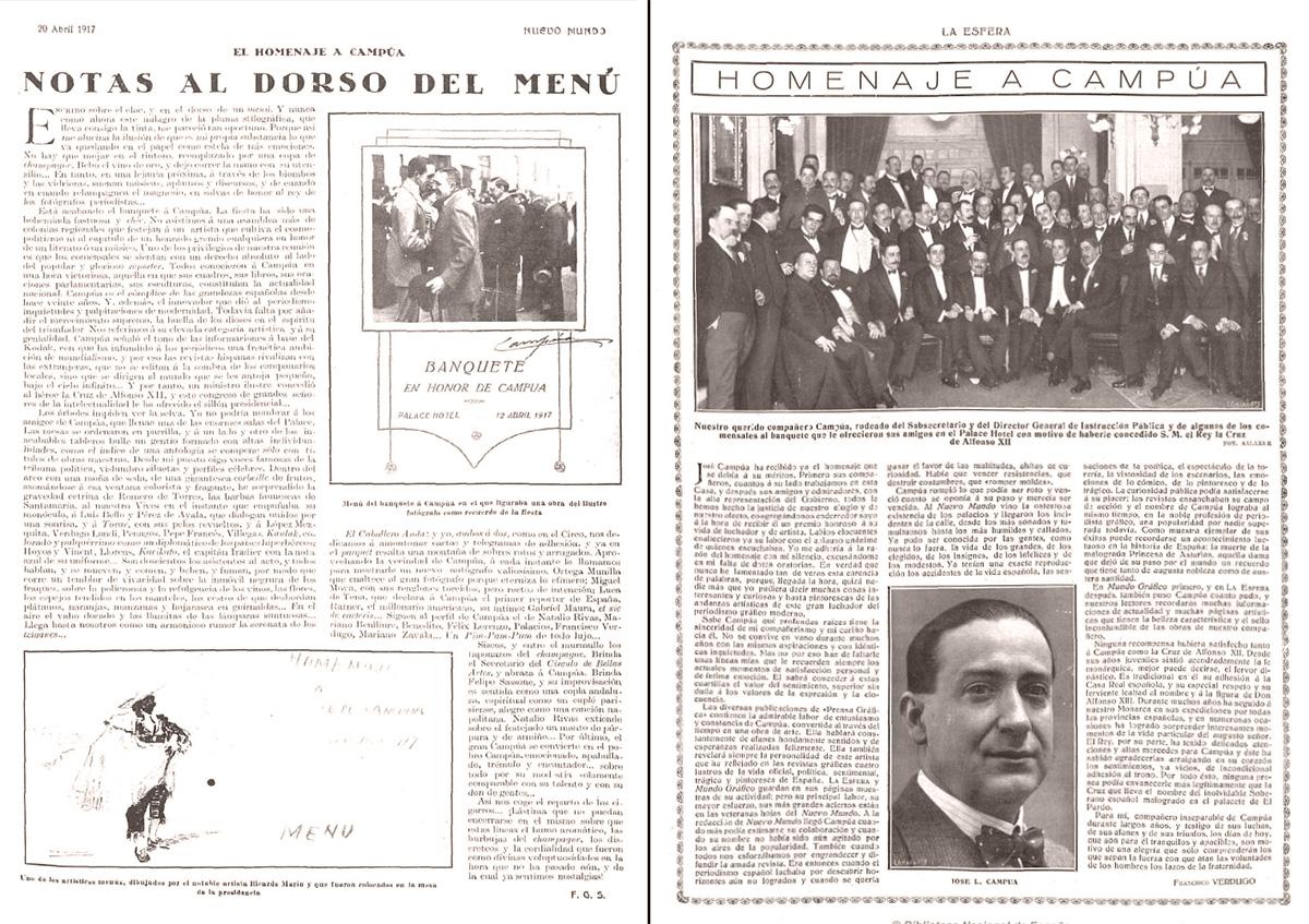 Crónicas publicadas en Nuevo Mundo (a la izquierda) y La Esfera (a la derecha) sobre el homenaje a Campúa