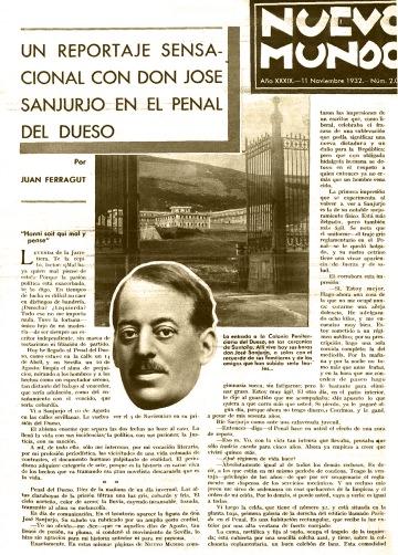 Entrevista de Juan Ferragut a Sanjurjo publicada en Nuevo mundo el 11 de noviembre de 1932 con fotografías de Campúa
