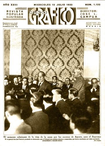 Portadilla interior de Mundo Gráfico el 12 de julio de 1933 con foto del juicio a Sanjurjo en el Tribunal en Madrid