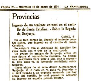 Breve de La Vanguardia en el que se anuncia la llegada de Sanjurjo a la prisión de Santa Catalina y el barco en el que iban, entre otros, Campúa.
