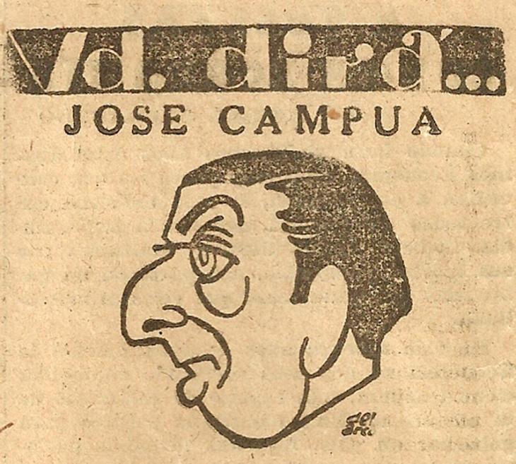 Caricatura que ilustraba la entrevista, publicada el 16 de diciembre de 1952 en el Diario de Barcelona