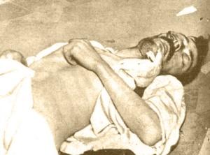 Cadáver de Antonio Teruel, autor del crimen del correo de Andalucía. Fotografía de Campúa publicada en Mundo Gráfico el 23 de abril de 1924