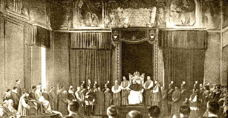 Fotografía de Campúa publicada en La Esfera y Nuevo Mundo de la audiencia del papa Pío XI a los reyes Alfonso XIII y Victoria Eugenia en el Vaticano en 1923.