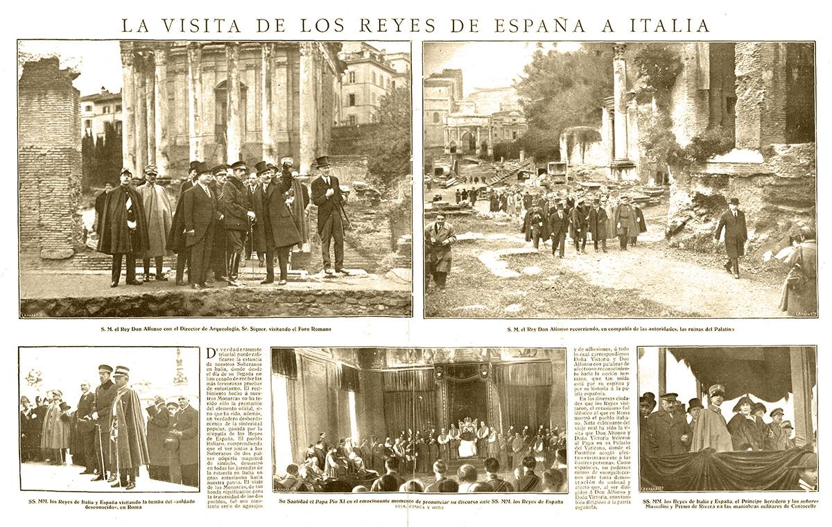Doble página de La Esfera publicada el 1 de diciembre de 1923 con fotografías del viaje de Alfonso XIII a Roma realizadas por Campúa y Ortiz