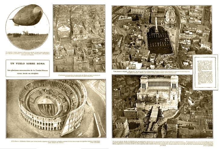 Doble página publicada en Nuevo Mundo el 21 de diciembre de 1923 con las fotos aéreas de Roma tomadas por Campúa desde el zepelín Hesperia