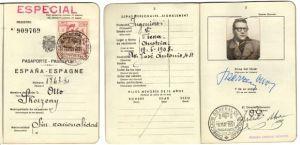 Pasaporte de Otto Skorzeny emitido en Madrid en el que figura su domicilio en la Avenida de José Antonio, 44 (actual Gran Vía)