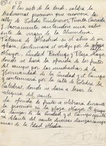 Nota informativa firmada por Víctor Babot con la previsión del recorrido de la procesión de San Isidro